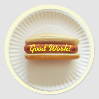 Student Reward Sticker - Hot Dog On Paper Plate