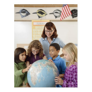 students and teacher with globe postcard