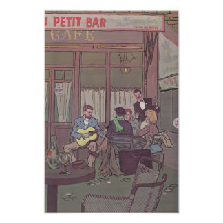 Students at a French Cafe Poster