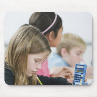 Students doing math work in classroom mouse pad