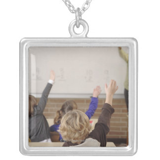 students in classroom silver plated necklace