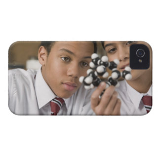 Students looking at molecular model iPhone 4 Case-Mate case