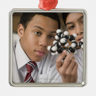 Students looking at molecular model Silver-Colored square decoration