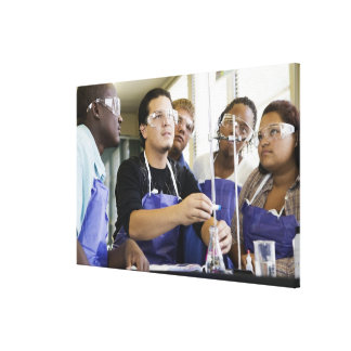 Students performing experiment in chemistry lab canvas print
