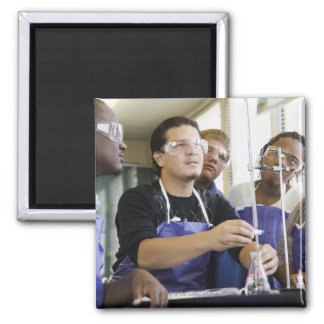 Students performing experiment in chemistry lab magnet