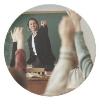Students raising their hands in classroom plate