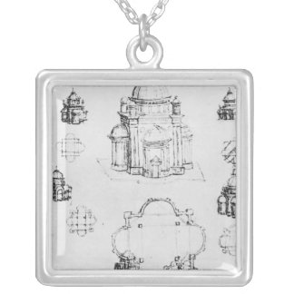 Studies for a building of a centralised plan silver plated necklace