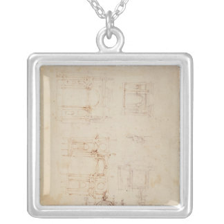 Studies for architectural composition silver plated necklace
