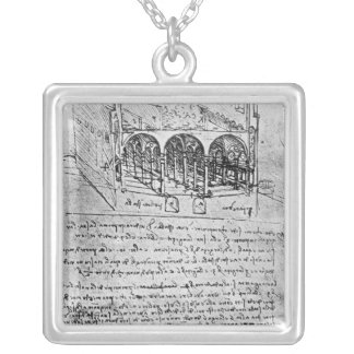 Studies for stables silver plated necklace