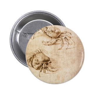 Studies of crabs by Leonardo da Vinci 6 Cm Round Badge