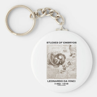 Studies Of Embryos (Leonardo da Vinci) Basic Round Button Key Ring