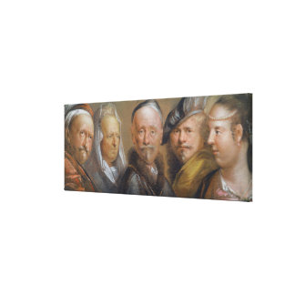 Studies of Five Heads after Rembrandt (pastel on c Canvas Print