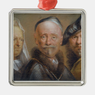Studies of Five Heads after Rembrandt (pastel on c Silver-Colored Square Decoration