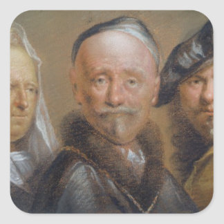 Studies of Five Heads after Rembrandt (pastel on c Square Sticker