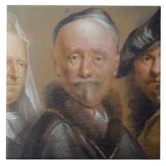 Studies of Five Heads after Rembrandt (pastel on c Tile