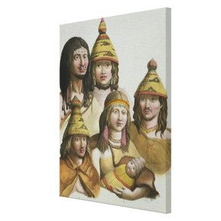 Studies of native Americans (colour litho) Canvas Print