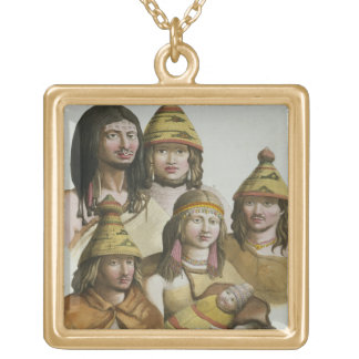 Studies of native Americans (colour litho) Gold Plated Necklace