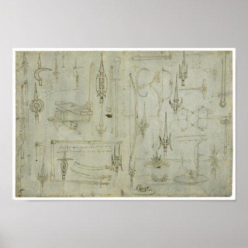 Studies of Weapons, Leonardo da Vinci Poster