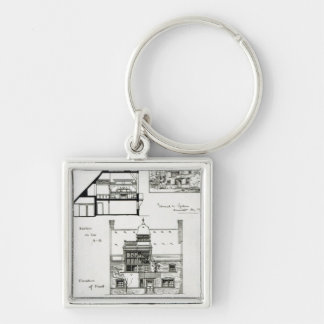 Studio and Cottage for Miss Rosa Corder Silver-Colored Square Key Ring