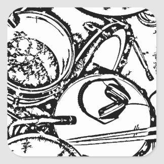 Studio Drums with Headphones and Sticks Square Stickers