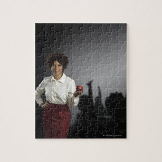 Studio portrait of female teacher with shadows jigsaw puzzle