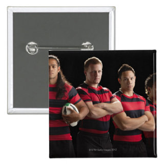 Studio portrait of male rugby team 15 cm square badge
