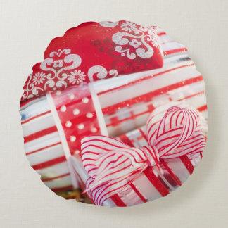 Studio Shot christmas gifts 2 Round Cushion