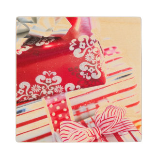 Studio Shot christmas gifts 2 Wood Coaster