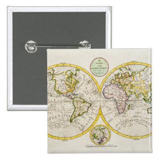 Studio shot of antique world map 15 cm square badge