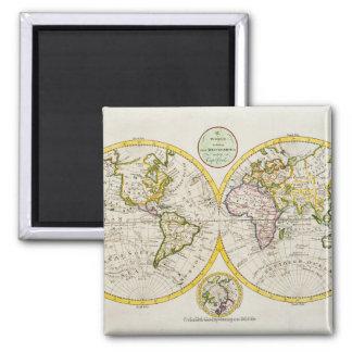 Studio shot of antique world map 2 square magnet
