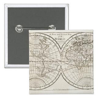 Studio shot of antique world map 3 15 cm square badge