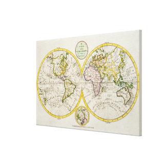 Studio shot of antique world map 3 canvas print