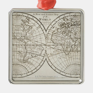 Studio shot of antique world map 3 christmas ornament