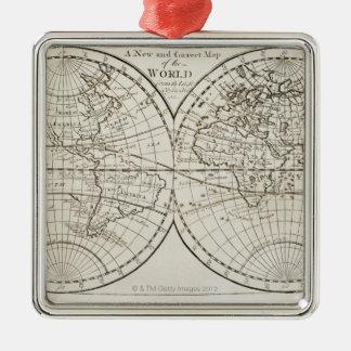Studio shot of antique world map 3 christmas tree ornament