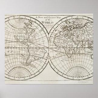 Studio shot of antique world map 3 poster