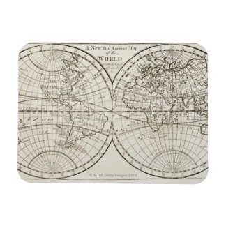 Studio shot of antique world map 3 rectangular photo magnet