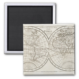 Studio shot of antique world map 3 square magnet
