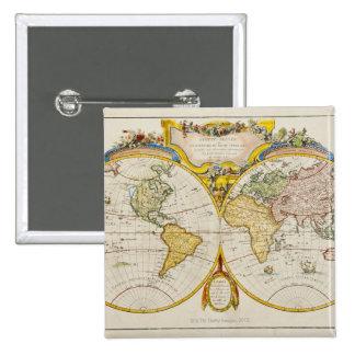 Studio shot of antique world map pinback button