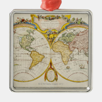 Studio shot of antique world map christmas tree ornaments
