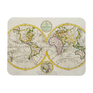 Studio shot of antique world map rectangular photo magnet