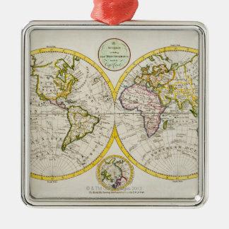 Studio shot of antique world map Silver-Colored square decoration