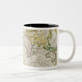 Studio shot of antique world map Two-Tone coffee mug