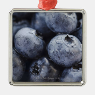 Studio shot of blueberries 3 Silver-Colored square decoration