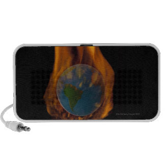 Studio Shot of burning globe PC Speakers
