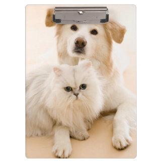 Studio shot of cat and dog clipboard