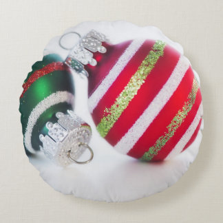 Studio shot of christmas baubles 2 round cushion