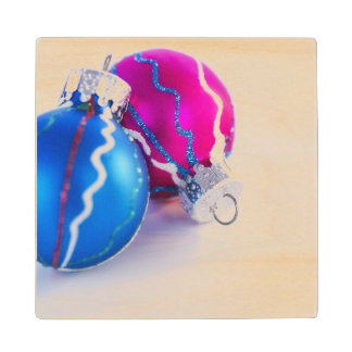 Studio shot of christmas baubles wood coaster