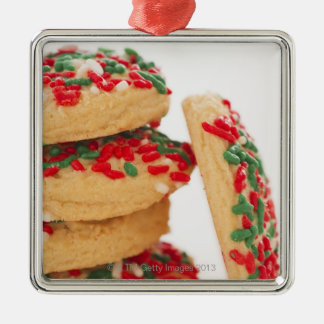Studio Shot of christmas cookies with sprinkles Silver-Colored Square Decoration