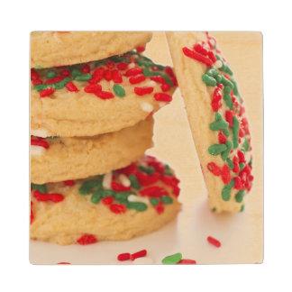 Studio Shot of christmas cookies with sprinkles Wood Coaster