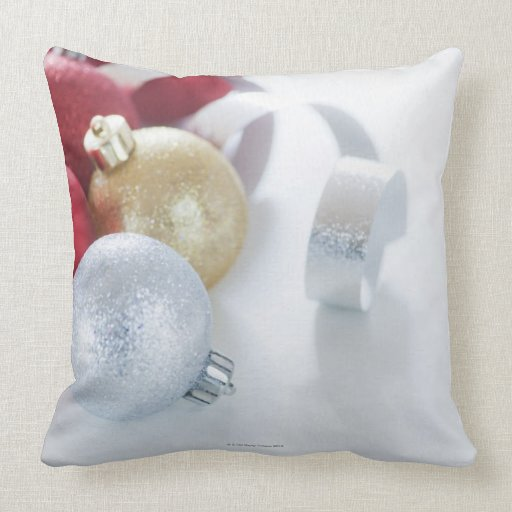Studio shot of Christmas ornaments Throw Pillow